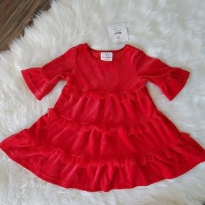 Hanna Andersson 80 12-18 red velour xmas dress 🆕️